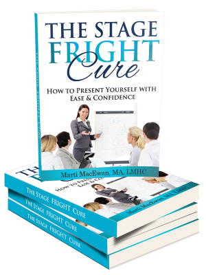 Stage Fright Cure Book and companion videos is a total program for overcoming stage fright, performance anxiety and the fear of public speaking.